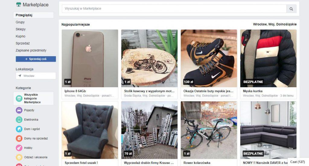 sprzedaż internetowa poprzez marketplace fb
